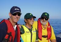 Photo 4.	Australian Team for the 2005 Homerus Blind Match Racing Championships.  L-R – David Staley (coach/manager), Don Scott (sheet hand), Paul Borg (helm).