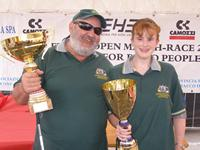 Photo - Winners are grinners – Paul Borg & Kylie Forth after being presented with their 2006 Homerus International Championship trophies.